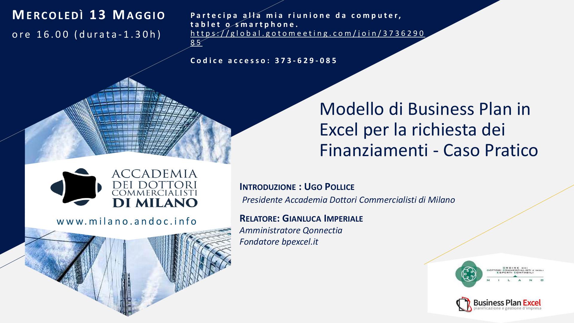 Webinar Modello Business Plan Excel per Richiesta Finanziamenti: Caso Pratico